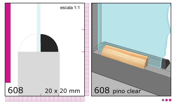 Imagen CONTRAVIDRIO DE PINO 1X1X3.05 MTS N608