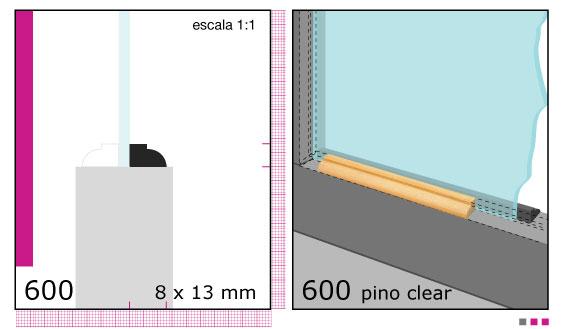 Imagen CONTRAVIDRIO DE PINO 1/2X3/4X3.05 MTS N600