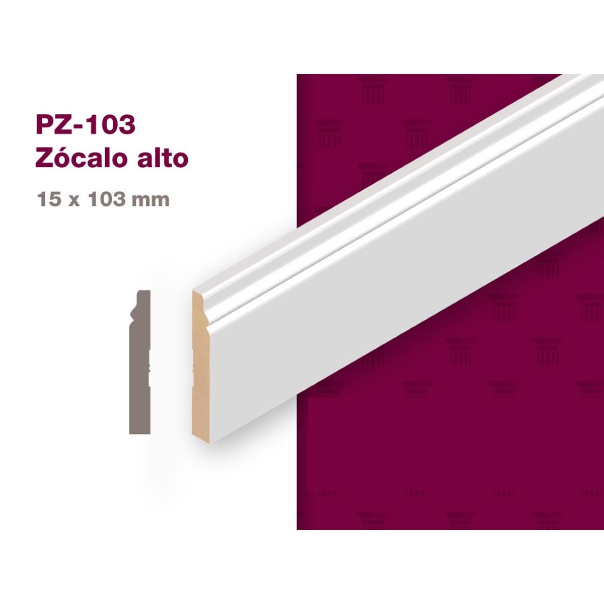 ZOCALO MDF PREPINTADO/15X103x2.75 PZ-103